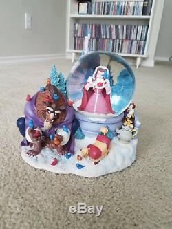 1991 Disney Beauty And The Beast Musical Snowglobe Bird Feeding Scene RARE