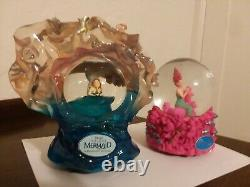 2 Disney RARE BROADWAY ARIEL THE LITTLE MERMAID MUSICAL SNOWGLOBES with Boxes