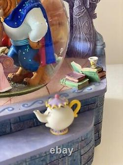 Beauty and the Beast Belle Reading to Beast Disney Musical Snowglobe Library