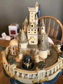 Beauty and the Beast Hourglass Musical Light-Up Disney Snowglobe Rare HTF EUC