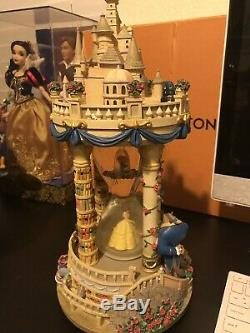 Beauty and the Beast Hourglass Musical Light-Up Disney Snowglobe Rare Musical