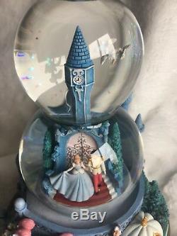 Cinderella Snow Globe Disney Water Ball Musical Two Tier Double Bubble Clock