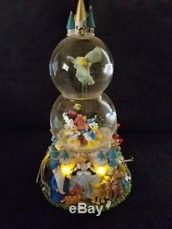 DISNEYS DOUBLE LIGHTED MUSICAL SNOW GLOBE WithMICKEY & FRIENDS DUMBO ON TOP TURNS