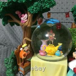 DISNEY Alice in Wonderland Snow Globe Music Box Tea Party Rotating Figure Rare