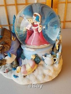 DISNEY BEAUTY AND THE BEAST 1991 MUSICAL Snowglobe Belle Beast Lumiire Rare HTF