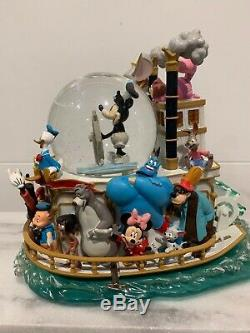 DISNEY MICKEY'S 75th ANNIVERSARY STEAMBOAT WILLIE RIDE MUSICAL LIGHTED SNOWGLOBE