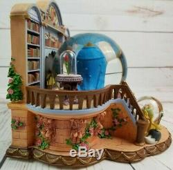 Disney 1991 Beauty And The Beast Library Musical Blower Snow Globe Excellent