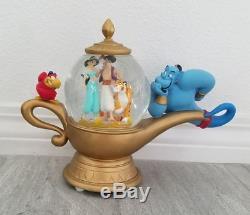 Disney Aladdin Genie Lamp Musical Snowglobe Music Box Water Snow Globe Rare! NR