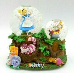 Disney Alice In Wonderland Cheshire Cat White Rabbit Enesco Musical Snow Globe