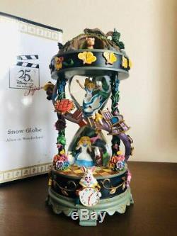 Disney Alice In Wonderland Snow Globe Dome Music Box 25th Anniversary Limited