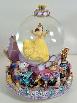 Disney Beauty Belle The Beast Rotating Base Musical Snowglobe Be