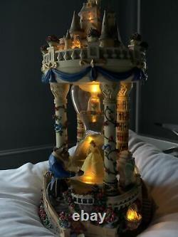 Disney Beauty & The Beast Enchanted Castle Hourglass Musical Snowglobe Rare