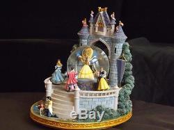 Disney Beauty & The Beast Musical Dancing Snowglobe Castle Snow White Cinderella
