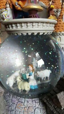 Disney Beauty and the Beast Castle Snow Globe Lights Music Blower Vintage RARE