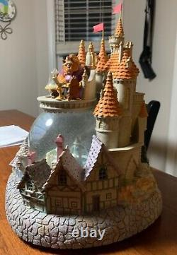 Disney Beauty and the Beast Castle Village Light Up Musical Snow Globe Complete