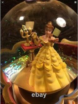 Disney Belle Beauty The Beast Rotating Base Musical Snowglobe Vintage 1991 RARE