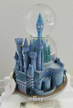 Disney Cinderella & Prince Charming Wedding Castle Musical Double Snowglobe New