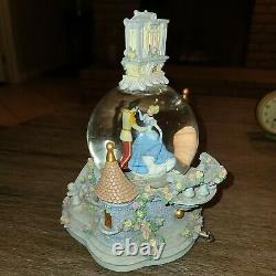 Disney Cinderella SO THIS IS LOVE Musical Light Up Clock Snow Globe Spins Rare