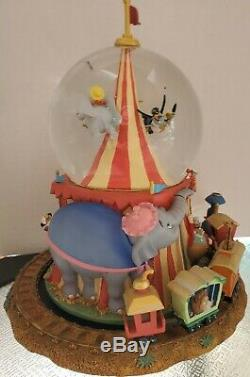 Disney Dumbo Musical Snowglobe With Moving Train Train Clowns Circus Ring Master