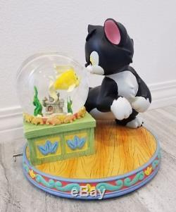 Disney Figaro & Cleo Pinocchio Musical Snowglobe Water Snow Globe with Blower Rare