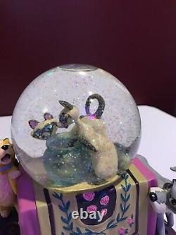 Disney Lady and the Tramp Si Am Siamese Glitter Snow Globe Music Chopin RARE