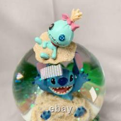 Disney Lilo & Stitch Sandcastle Beach Musical Hawaiian Snow Globe Extremely Rare