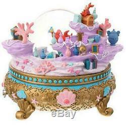 Disney Little Mermaid Ariel Musical Snow Globe Under the Sea H8 L8.5 W8.5
