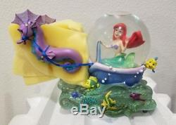 Disney Little Mermaid Ariel & Seahorses Musical Snowglobe Water Snow Globe New