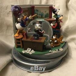 Disney Mickey Donald Duck Goofy Minnie PETER PAN Music Box Motion SnowGlobe-MIB