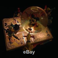 Disney Mickey Donald Minnie Goofy MICKEY COMICS Musical Lights Up Base Snowglobe