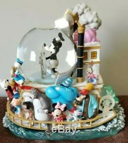 Disney Mickeys 75th Anniversary Mouse Steamboat Willie Musical Snowglobe Ceramic
