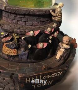 Disney Nightmare Before Christmas Halloween Town Snow Globe-Music Light Rotates