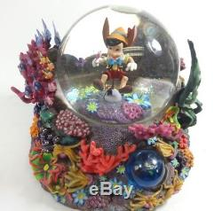 Disney PINOCCHIO Snow Globe Music Box (Brahms Waltz) Beautiful Coral, RARE