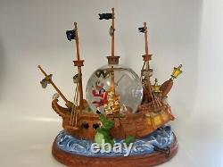 Disney Peter Pan Captain Hook Pirate Ship Musical Snowglobe You Can Fly 10