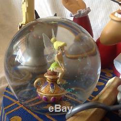 Disney Peter Pan Captain Hook &TinkerBell Musical Lite Up Blower SnowGlobe-MIB