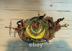 Disney Peter Pan Fighting withCaptain Hook Ship Musical Snowglobe Extremely Rare