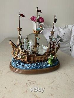 Disney Peter Pan Musical Snow Globe Pirate Ship You Can Fly