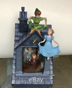 Disney Peter Pan Wendy Snow Globe Plays You Can Fly Musical Lights NO WATER