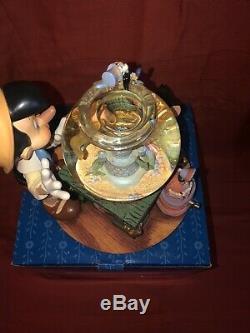 Disney Pinocchio Musical Snowglobe Figurine Toyland Figaro Cleo Fishbowl W Box