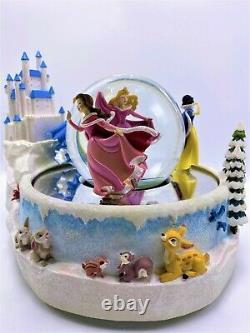 Disney Princess Ice Skating Musical Rotating Snow Globe Rare and Retired