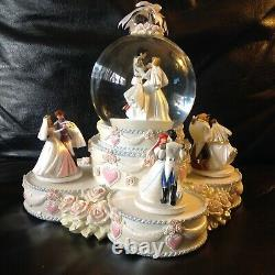 Disney Princesses WEDDING CAKE CELEBRATION Musical Spin Figurines SnowGlobe