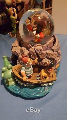 Disney RARE Peter Pan Captain Hook Wendy Bell Tic Toc Snowglobe Music Box Moves