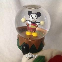 Disney SANTA MICKEY MOUSE WORKSHOP Rotating Figurine Base Musical Snowglobe-MIB
