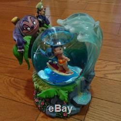 Disney Stitch Snow globe With music box(Aloha Oe) Wave surfing figure