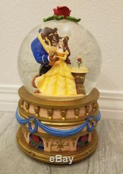 Disney Store Beauty The Beast Musical Snowglobe Music Box Snow
