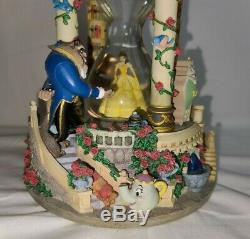 Disney Store Beauty and the Beast Hourglass Musical Light Up Disney Snowglobe
