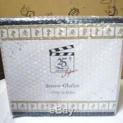 Disney Store Japan 25th Anniversary Chip & Dale Snow Globe Music Box Snowdome