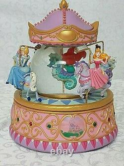 Disney Store Multi PRINCESS Carousel Musical SNOW GLOBE So This Is Love with Box