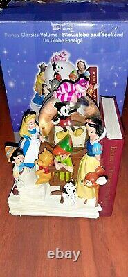 Disney Store Through The Years Vol. 1 Musical Snow Globe and Bookend with box
