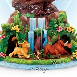 Disney The Lion King Rotating Musical Glitter Snow Globe Pride Rock Bradford NEW